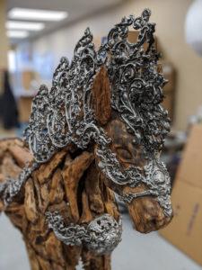 Custom wooden horse sculpture
