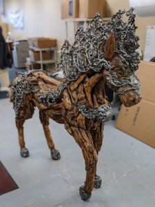Custom wooden horse sculpture